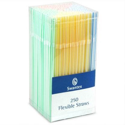 Picture of SWANTEX BENDY DRINK STRAWS DISP COLOURED BOX [250